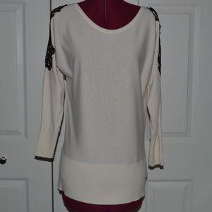 Thalia Sodi S White Cold Shoulder Knit Top w/Lace